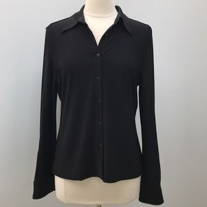 Norma Kamali Black Long Sleeve Button Down Shirt